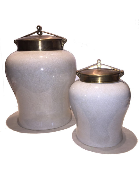 White Crackle Jar with Bronzed Lid | Small