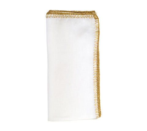 Gold Crochet Edge White Napkin