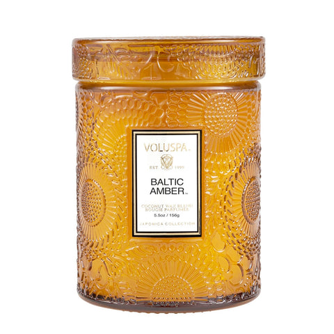 Baltic Amber ·  Tall Embossed Jar Candle - RSVP Style