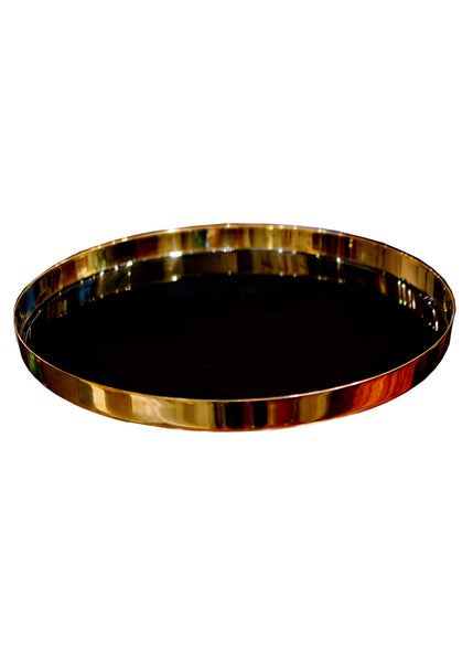 Black Lacquered Round Tray, vendor-unknown - RSVP Style