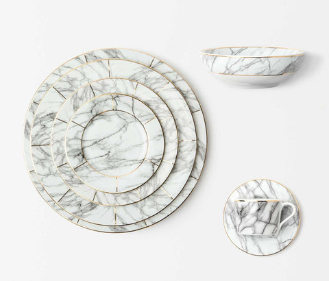 Eleni White Marble 7-Piece Place Setting