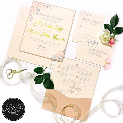 Blushing Botanicals Custom Wedding Invitation Suite - RSVP Style