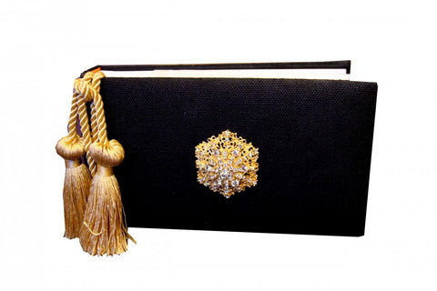 "4"" x 6"" Photo Album Black with Gold Tassels & Brooch, RSVP Style - RSVP Style"