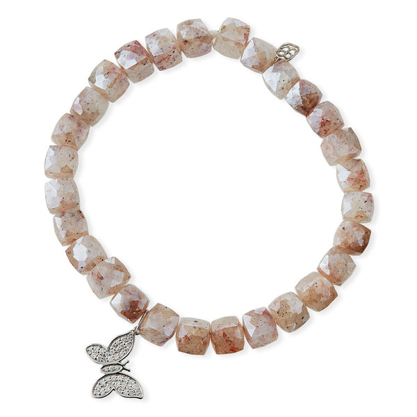 DIAMOND BUTTERFLY & PINK QUARTZ BEADED BRACELET