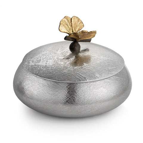 Butterfly Ginkgo Round Decorative Box