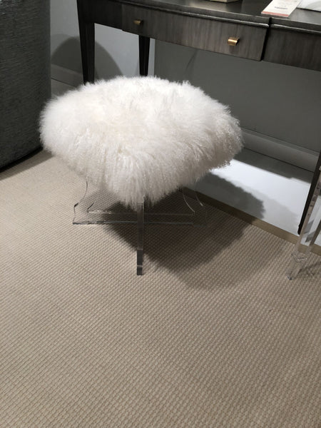 Lamb Fur Acrylic Bench