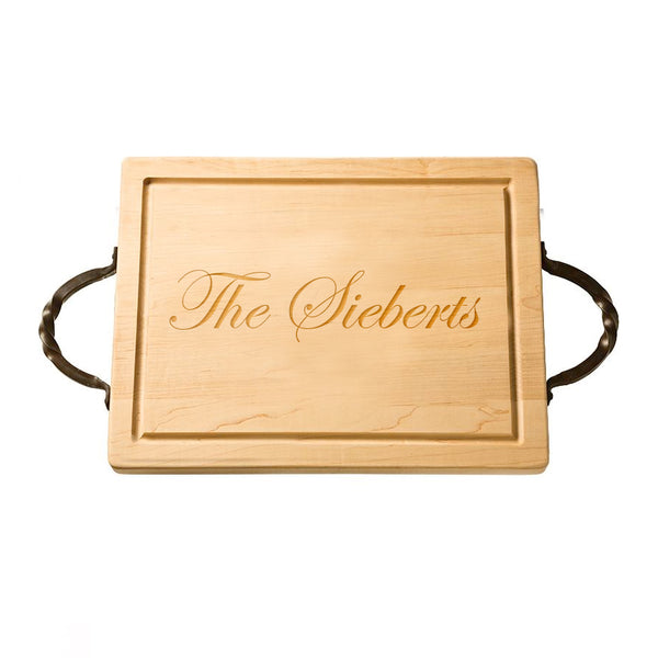 Personalized Rectangular Cutting Board with Handles  |  The Sieberts