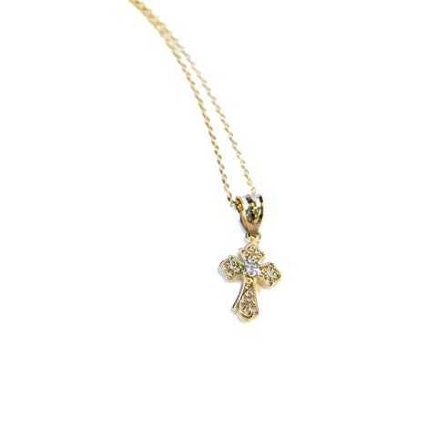 Yellow Gold Mini Cross Necklace