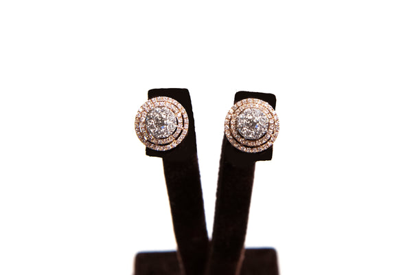 pave double halo studs