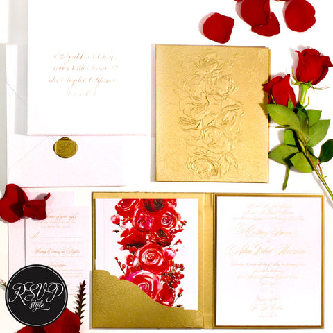 Elegant Rose Booklet Custom Wedding Invitation Suite - RSVP Style