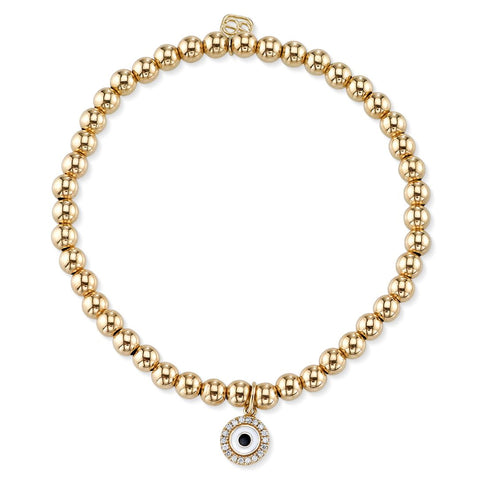 Mini Yellow-Gold & Diamond White Enamel Evil Eye on Gold Beads
