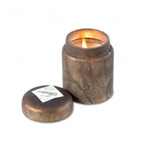 Mountain Fire Glass Candle Pot—Tobacco Bark - RSVP Style