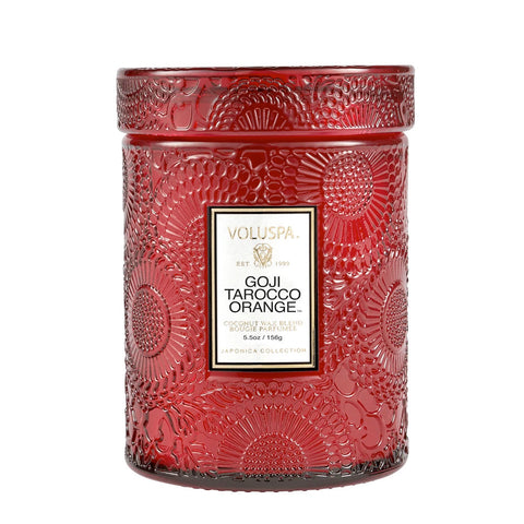 Spiced Goji Tarocco Orange  ·  Tall Embossed Jar Candle - RSVP Style
