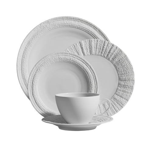 Gotham White 5-Piece Place Setting