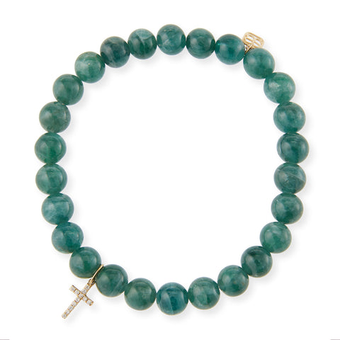 Diamond Tiny Cross & Apatite Beaded Bracelet