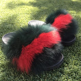 Gucci Stripe POOF Fur Slides