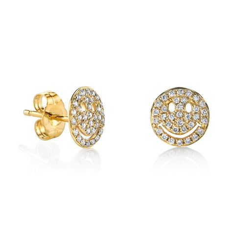 Small Gold & Diamond Pavé Happy Face Studs