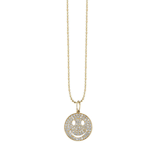 Medium Gold & Diamond Pave Happy Face Necklace