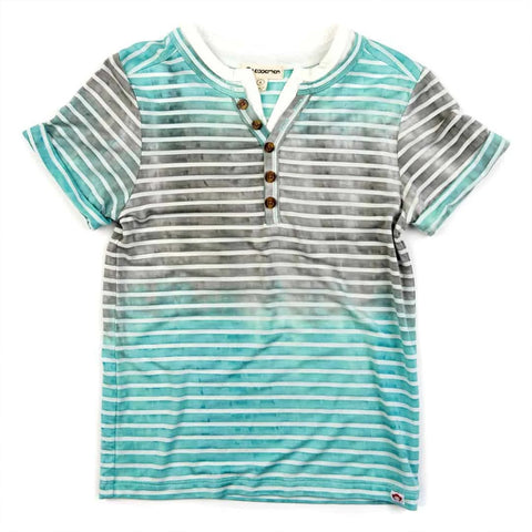 Hilltop Turquoise Stripe Henley