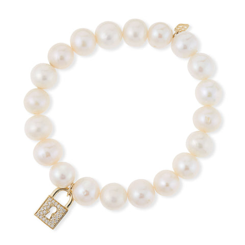 Diamond Lock & Potato Pearl Bracelet