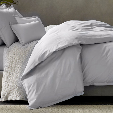 Luca Satin Stitch Duvet Cover — Silver