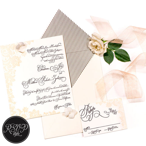 Luxe Lace Custom Wedding Invitation Suite