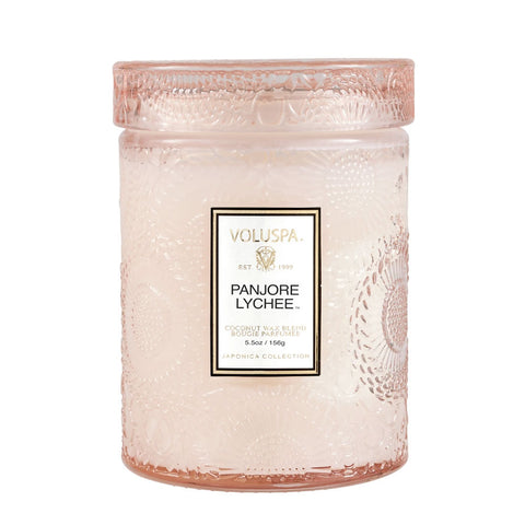 Panjore Lychee  ·  Tall Embossed Jar Candle - RSVP Style
