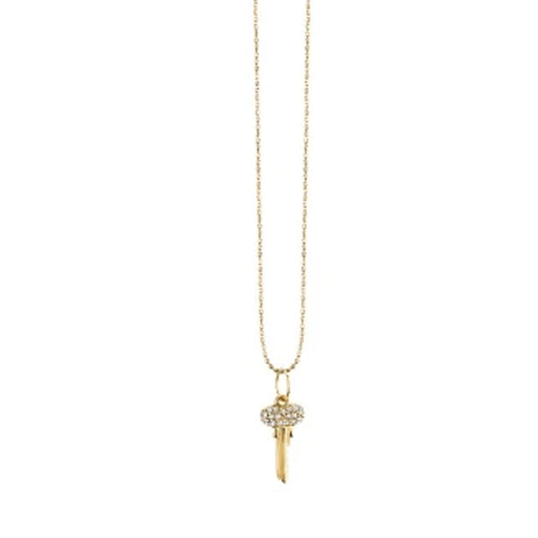 Yellow Gold & Diamond Mini Key Necklace - RSVP Style