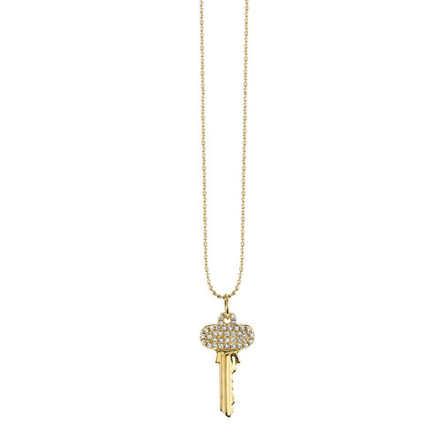 Small Yellow Gold & Diamond Key Necklace