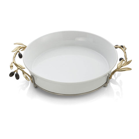 Olive Branch Gold Pie Plate
