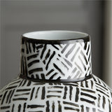 Abstracts Black and White Diagonal Lines Oval Vase, Tozai - RSVP Style
