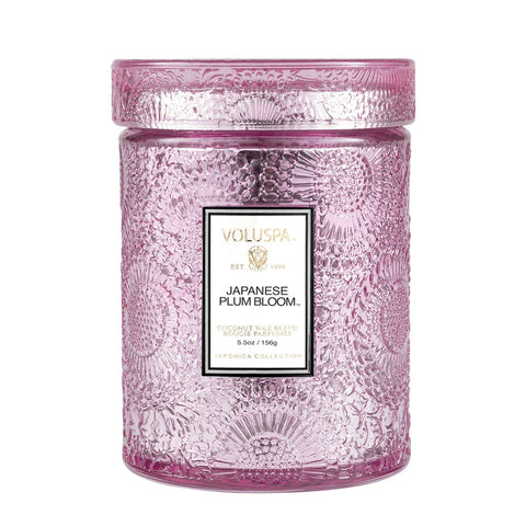 Japanese Plum Bloom  ·  Tall Embossed Jar Candle - RSVP Style
