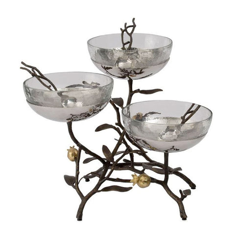 Pomegranate Triple Bowl Set with Spoons - RSVP Style