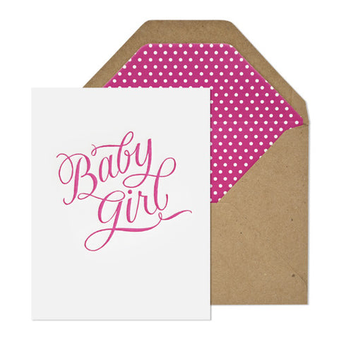Baby Girl Calligraphy Card - RSVP Style