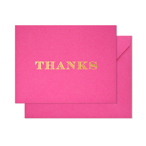 Classic Thanks Card - Raspberry, Sugar Paper - RSVP Style