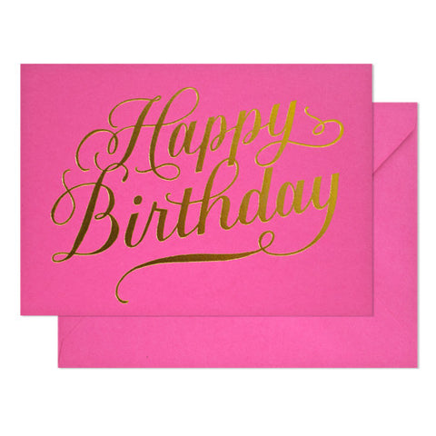 Happy Birthday Calligraphy on Raspberry Card