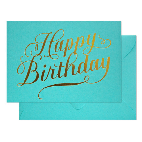 Happy Birthday Calligraphy on Blue Raspberry Card