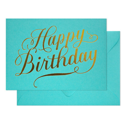 Happy Birthday Calligraphy on Blue Raspberry Card, Sugar Paper - RSVP Style