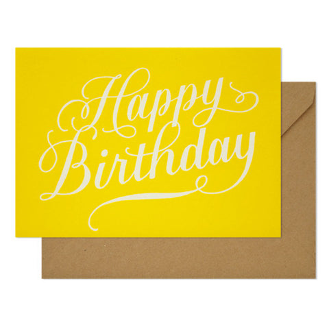 Happy Birthday Calligraphy on Yellow Card, Sugar Paper - RSVP Style
