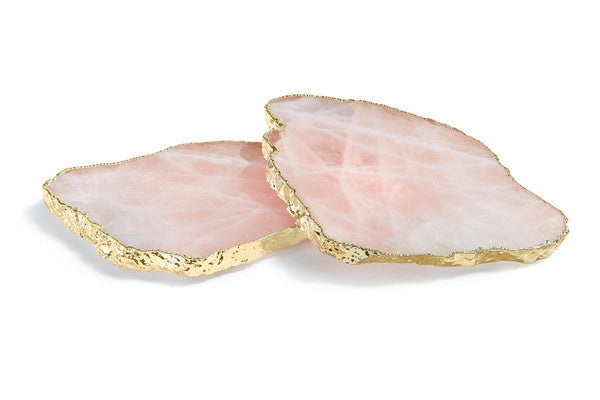 Rose Quartz & Gold Wine Coasters  |  Set of 2