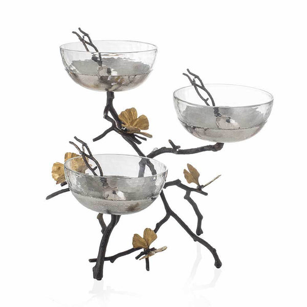 Butterfly Ginkgo Triple Bowl Set w/ Spoons, vendor-unknown - RSVP Style