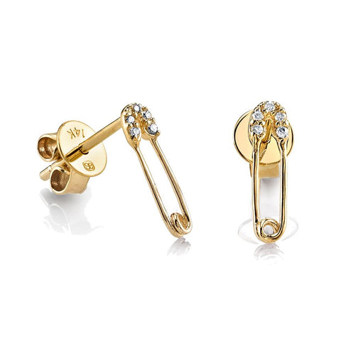 Mini Gold & Diamond Safety Pin Studs