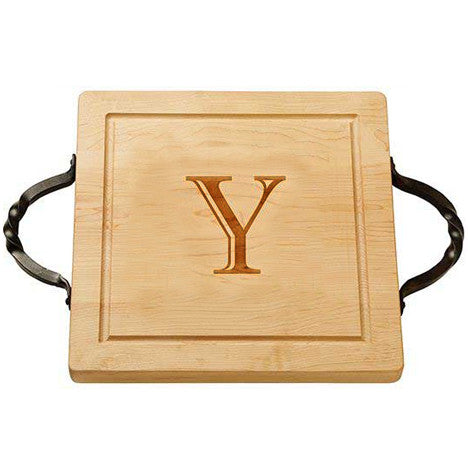 Personalized Square Cutting Board with Handles