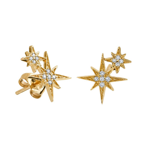 Small Gold & Diamond Double Starburst Stud Earrings