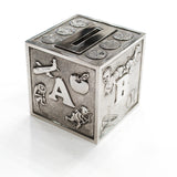 Sterling Silver Baby Block Coin Bank