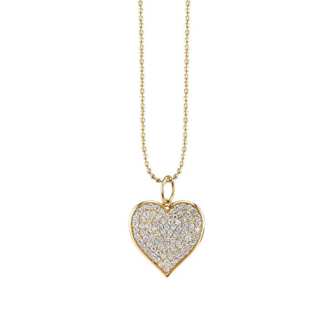 YELLOW GOLD & PAVÉ DIAMOND HEART NECKLACE