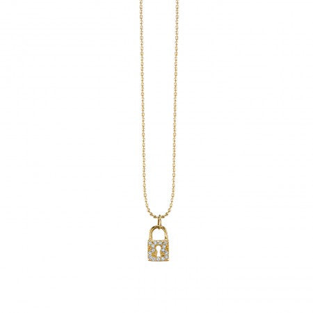 Yellow Gold & Diamond Lock Necklace
