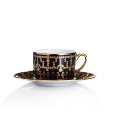 Tiara Black and Gold Saucer 5.7""