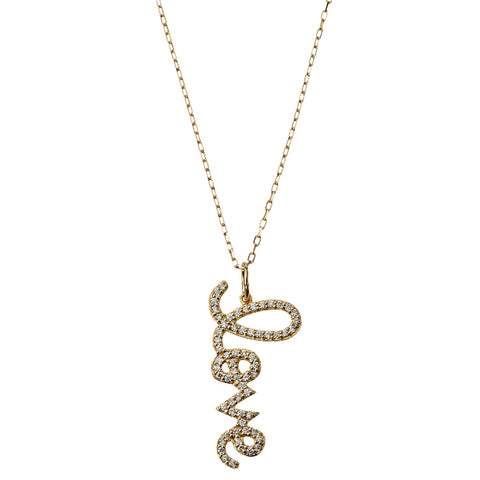 Diamond Pavé Love Script Pendant Necklace