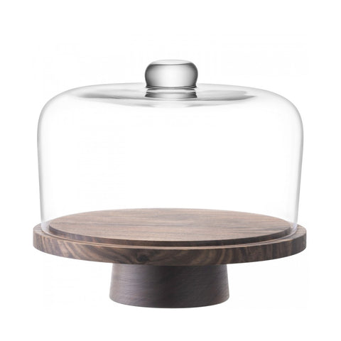 City Cake Dome & Walnut Stand
